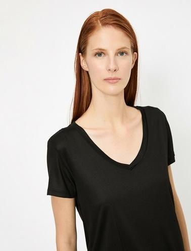 Koton V Yaka T-Shirt Siyah